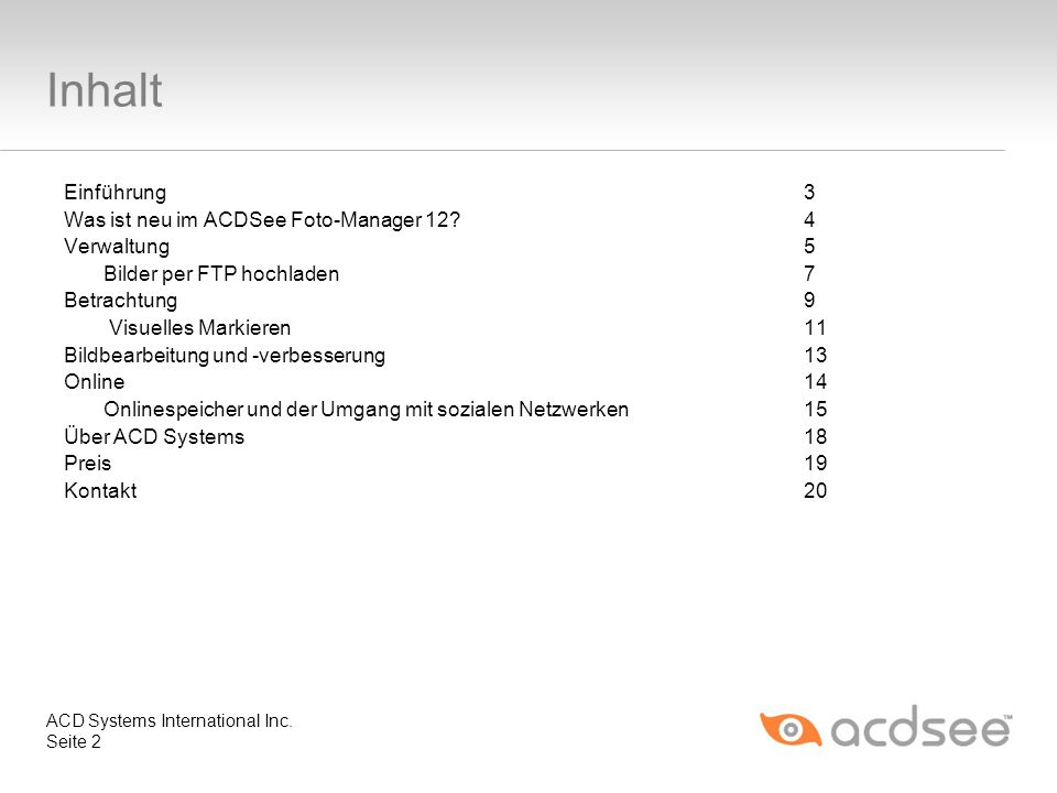 Inhalt Einführung 3 Was ist neu im ACDSee Foto-Manager 12 4