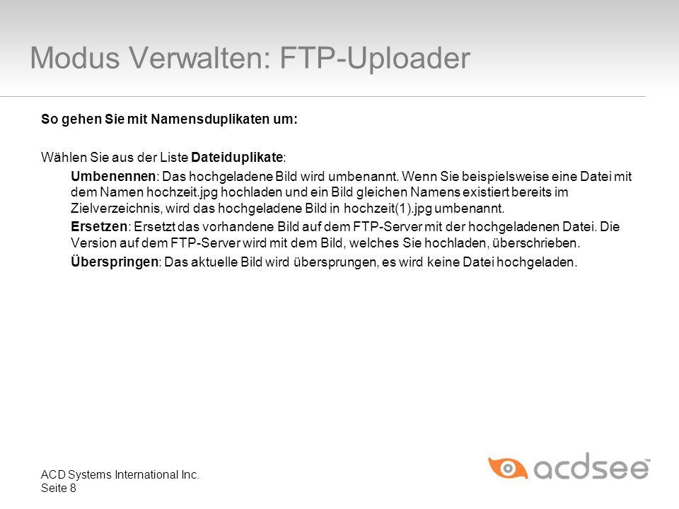 Modus Verwalten: FTP-Uploader