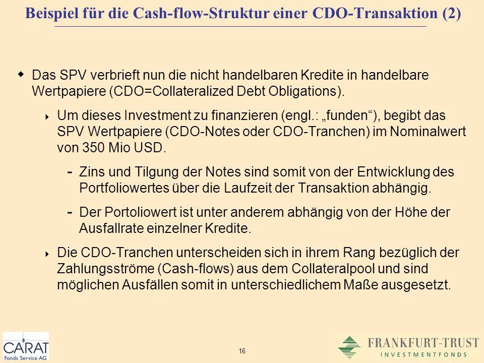 Beispiel für die Cash-flow-Struktur einer CDO-Transaktion (2)