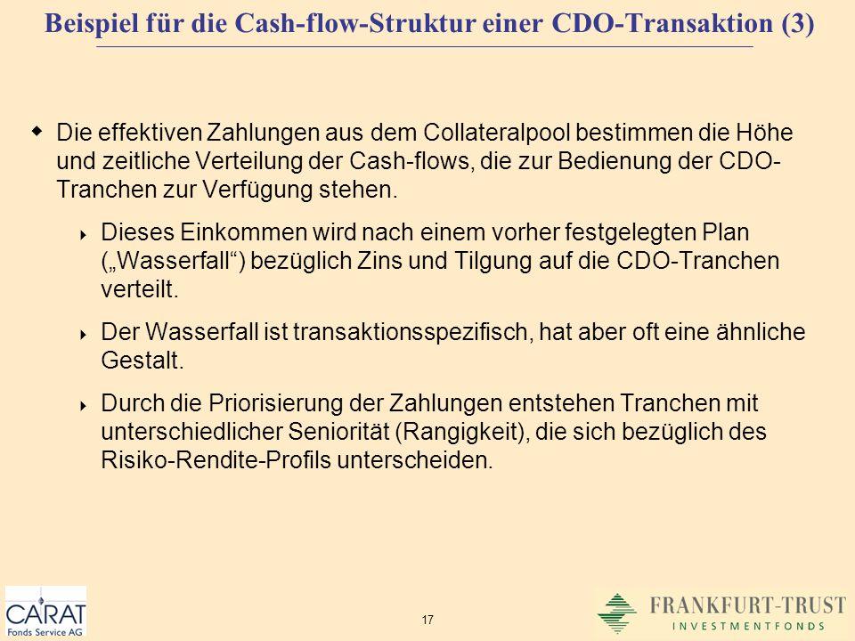 Beispiel für die Cash-flow-Struktur einer CDO-Transaktion (3)