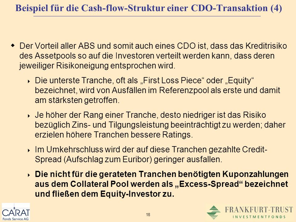 Beispiel für die Cash-flow-Struktur einer CDO-Transaktion (4)