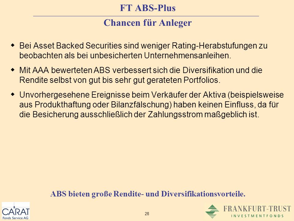 FT ABS-Plus Chancen für Anleger