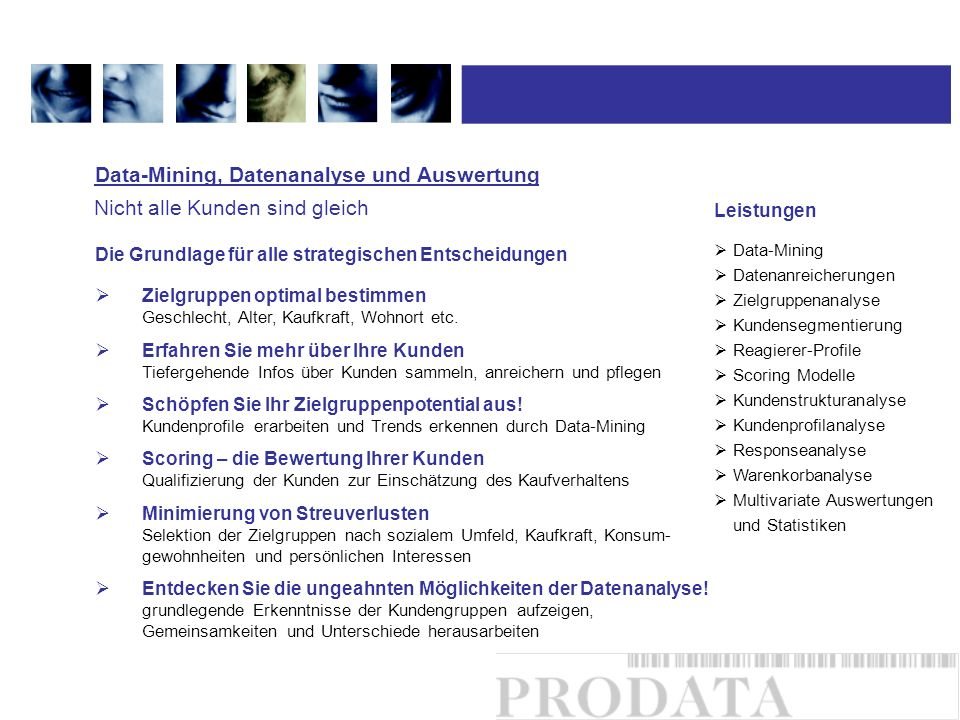 Data-Mining, Datenanalyse und Auswertung