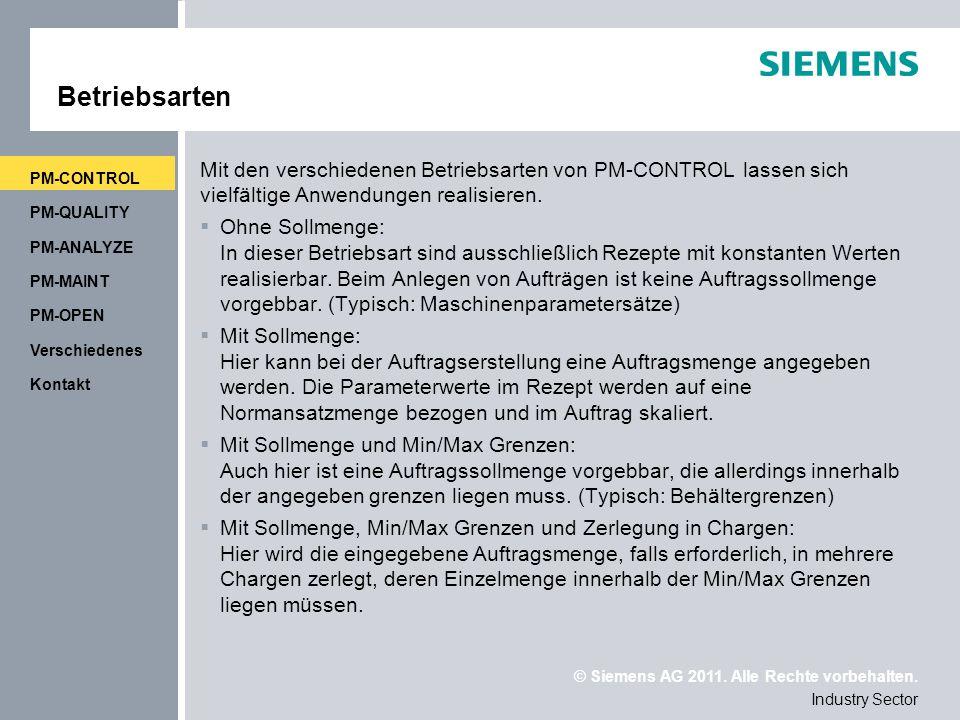 Betriebsarten PM-CONTROL. Mit den verschiedenen Betriebsarten von PM-CONTROL lassen sich vielfältige Anwendungen realisieren.