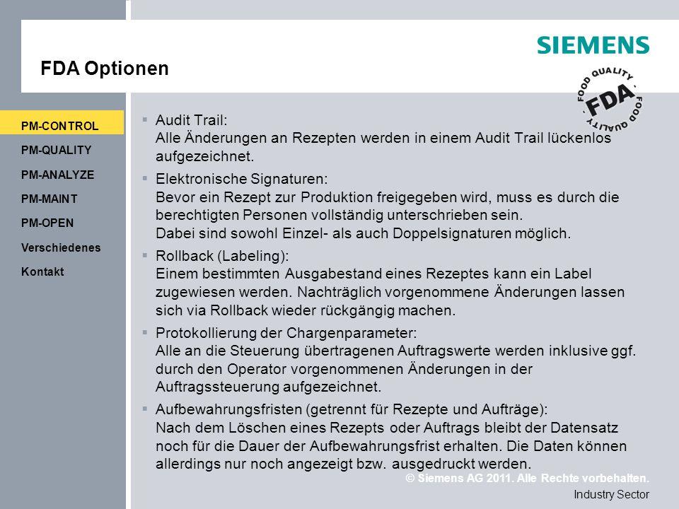 FDA Optionen PM-CONTROL. Audit Trail: Alle Änderungen an Rezepten werden in einem Audit Trail lückenlos aufgezeichnet.