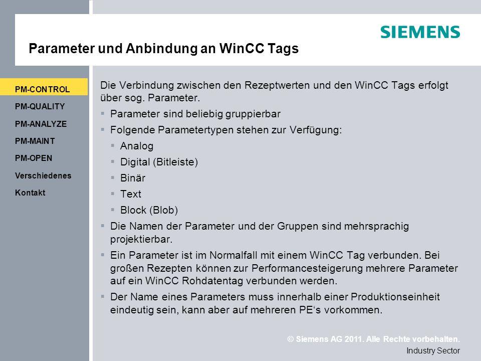 Parameter und Anbindung an WinCC Tags