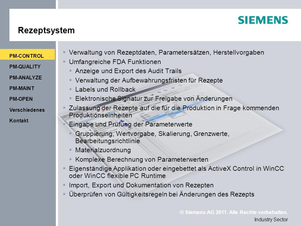 Rezeptsystem PM-CONTROL. Verwaltung von Rezeptdaten, Parametersätzen, Herstellvorgaben. Umfangreiche FDA Funktionen.