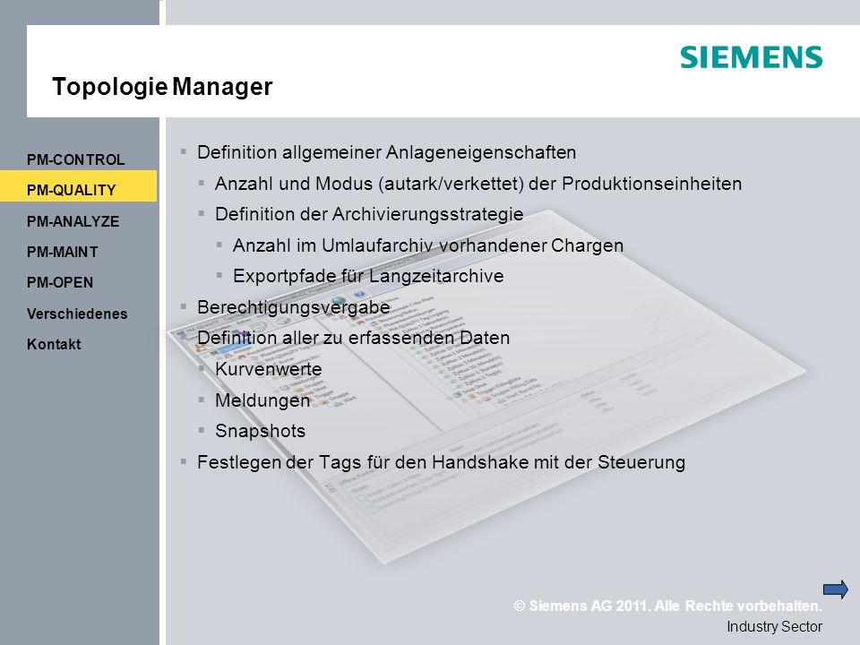 Topologie Manager Definition allgemeiner Anlageneigenschaften