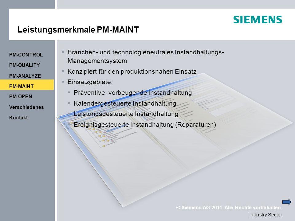 Leistungsmerkmale PM-MAINT