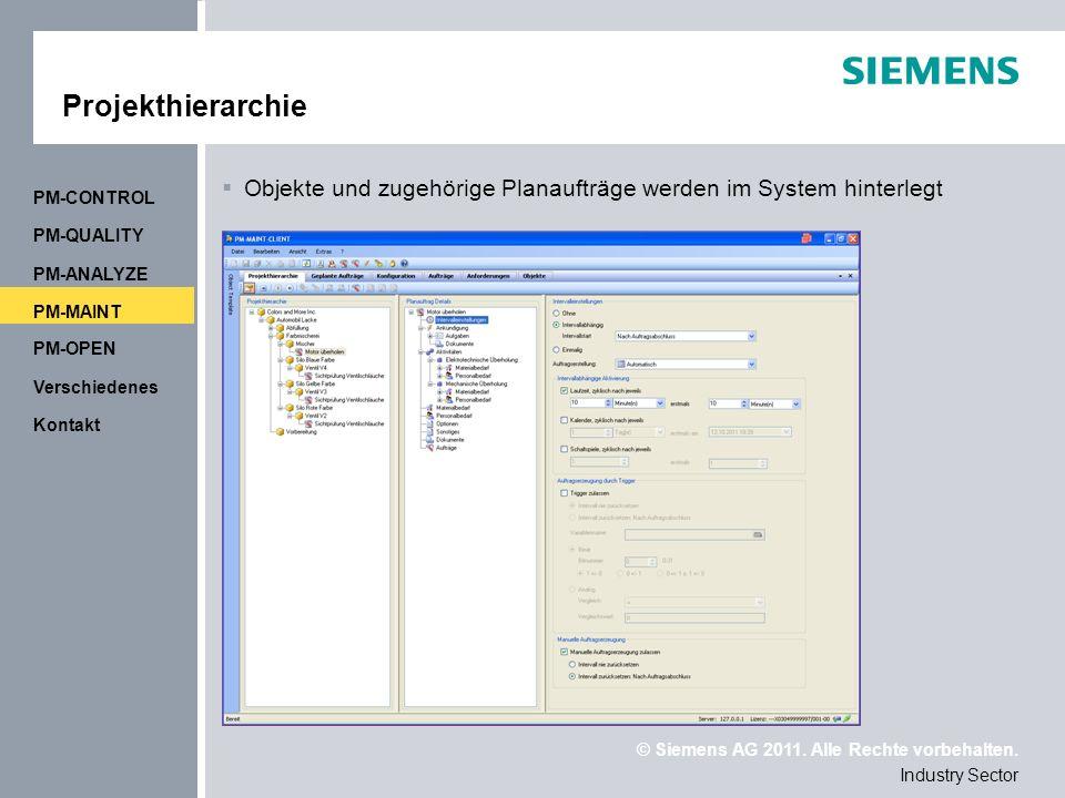 Projekthierarchie PM-CONTROL. Objekte und zugehörige Planaufträge werden im System hinterlegt. PM-QUALITY.