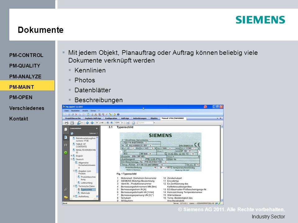 Dokumente PM-CONTROL. Mit jedem Objekt, Planauftrag oder Auftrag können beliebig viele Dokumente verknüpft werden.