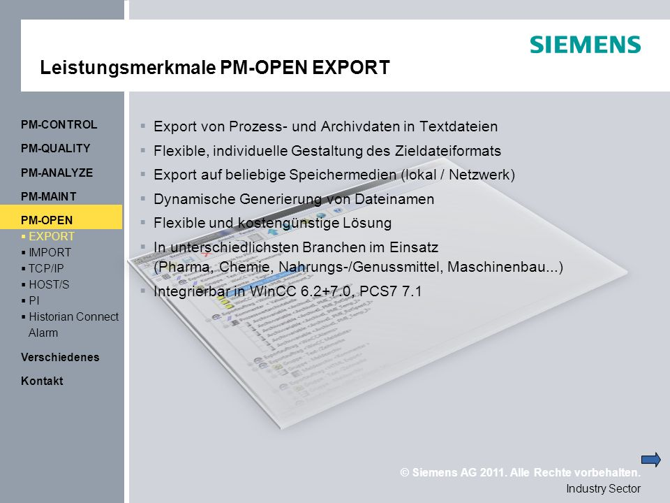 Leistungsmerkmale PM-OPEN EXPORT