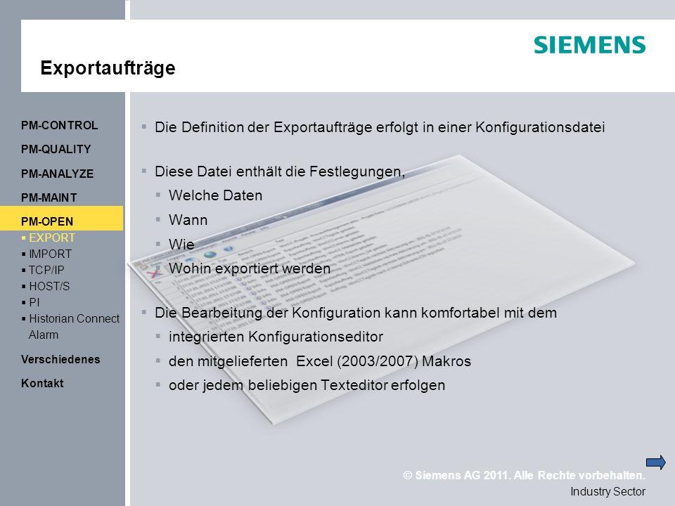 Exportaufträge PM-CONTROL. Die Definition der Exportaufträge erfolgt in einer Konfigurationsdatei.