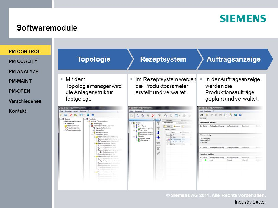 Softwaremodule Topologie Rezeptsystem Auftragsanzeige