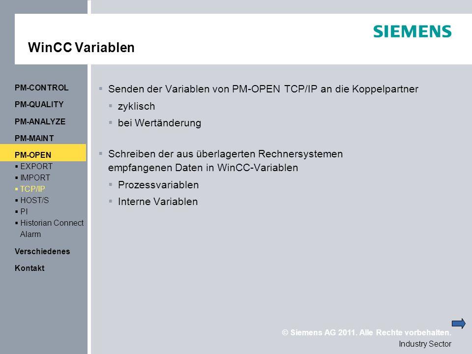 WinCC Variablen PM-CONTROL. Senden der Variablen von PM-OPEN TCP/IP an die Koppelpartner. zyklisch.
