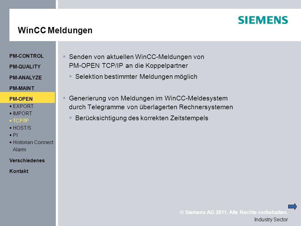 WinCC Meldungen PM-CONTROL. Senden von aktuellen WinCC-Meldungen von PM-OPEN TCP/IP an die Koppelpartner.