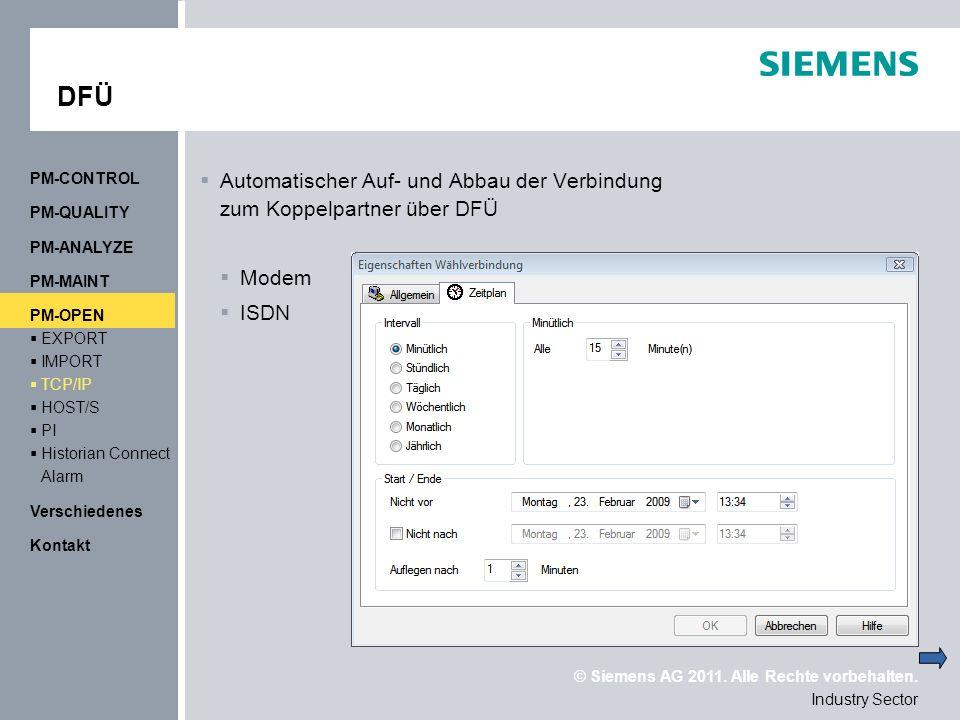 DFÜ PM-CONTROL. Automatischer Auf- und Abbau der Verbindung zum Koppelpartner über DFÜ. Modem. ISDN.