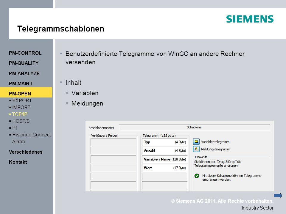Telegrammschablonen PM-CONTROL. Benutzerdefinierte Telegramme von WinCC an andere Rechner versenden.