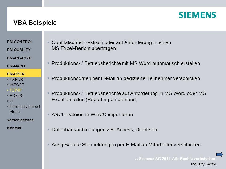 VBA Beispiele PM-CONTROL. Qualitätsdaten zyklisch oder auf Anforderung in einen MS Excel-Bericht übertragen.
