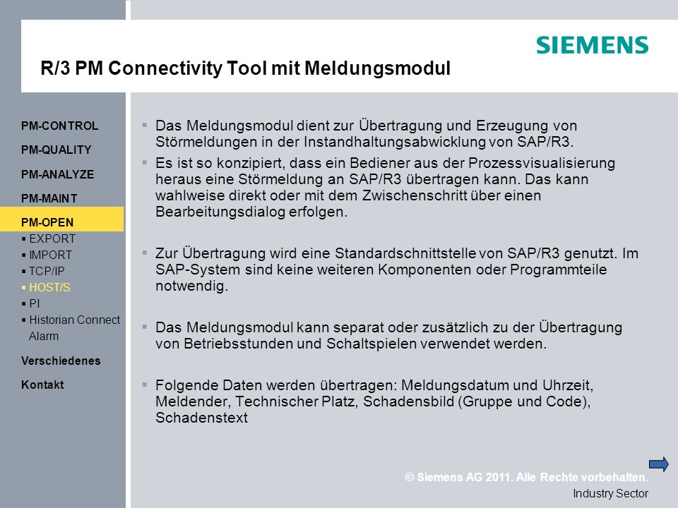 R/3 PM Connectivity Tool mit Meldungsmodul