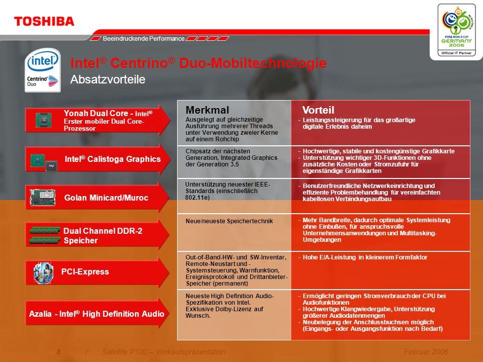Intel® Centrino® Duo-Mobiltechnologie Absatzvorteile