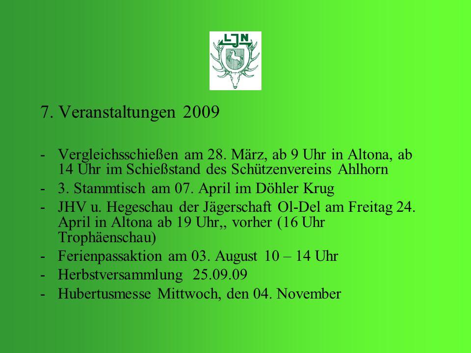 7. Veranstaltungen 2009 Vergleichsschießen am 28. März, ab 9 Uhr in Altona, ab 14 Uhr im Schießstand des Schützenvereins Ahlhorn.