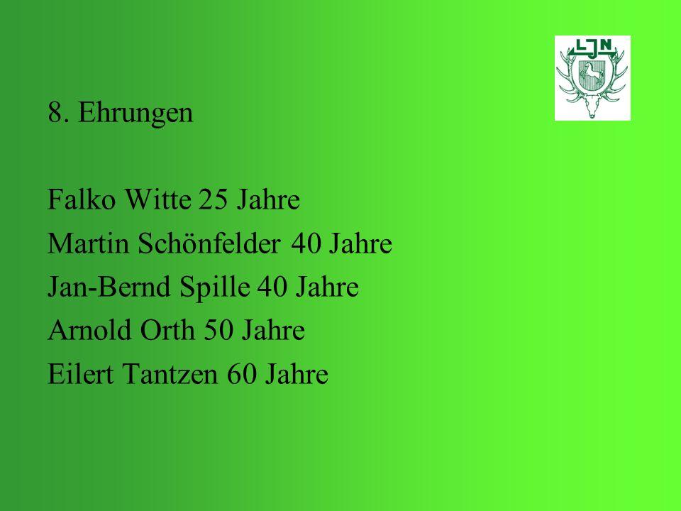 8. Ehrungen Falko Witte 25 Jahre. Martin Schönfelder 40 Jahre. Jan-Bernd Spille 40 Jahre. Arnold Orth 50 Jahre.