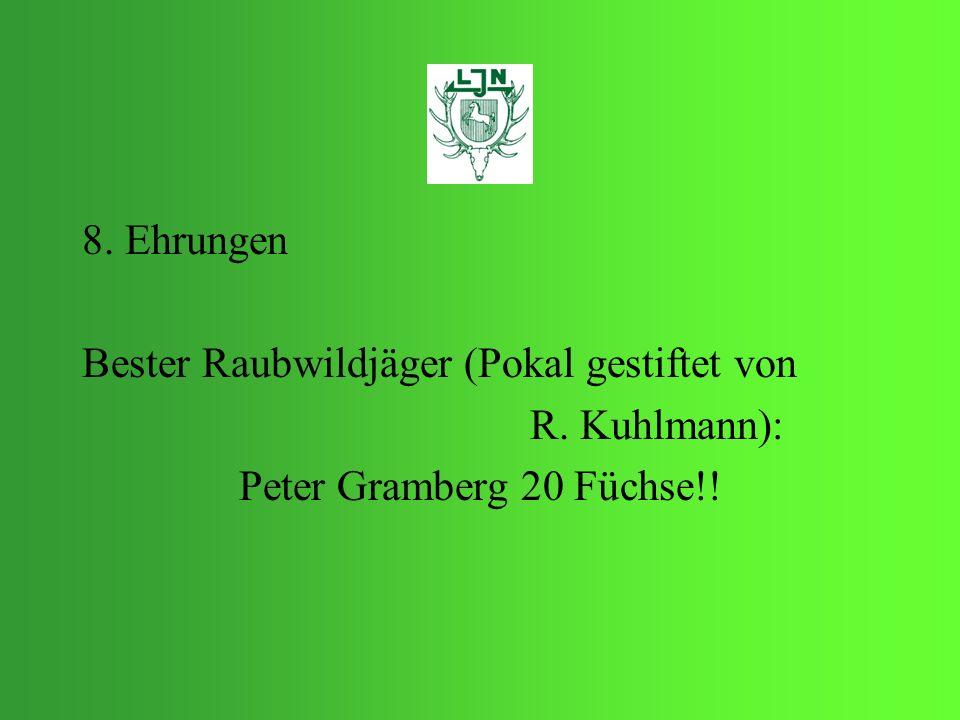 8. Ehrungen Bester Raubwildjäger (Pokal gestiftet von R. Kuhlmann): Peter Gramberg 20 Füchse!!