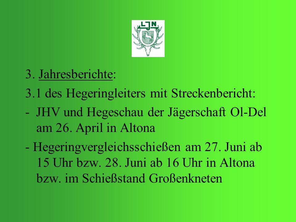 3. Jahresberichte:3.1 des Hegeringleiters mit Streckenbericht: - JHV und Hegeschau der Jägerschaft Ol-Del am 26. April in Altona.