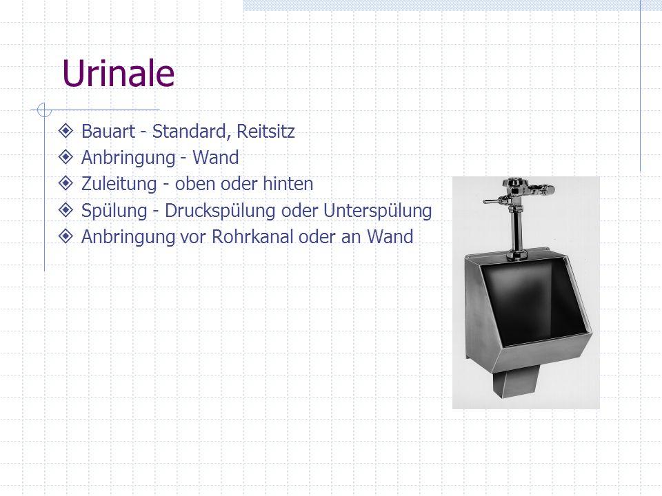 Urinale Bauart - Standard, Reitsitz Anbringung - Wand