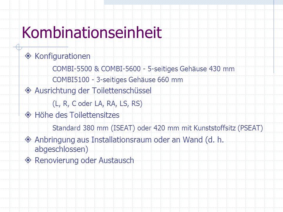 Kombinationseinheit Konfigurationen COMBI-5500 & COMBI-5600 - 5-seitiges Gehäuse 430 mm. COMBI5100 - 3-seitiges Gehäuse 660 mm.