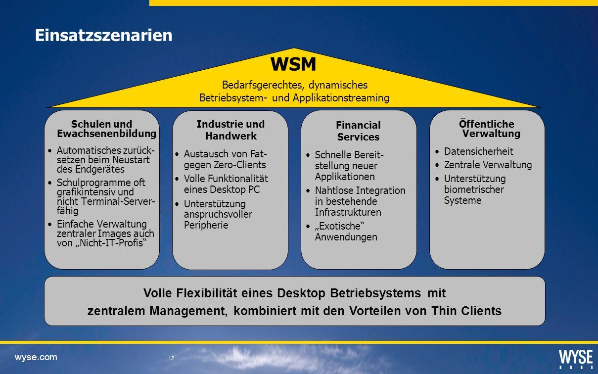 Einsatzszenarien WSM. Bedarfsgerechtes, dynamisches. Betriebsystem- und Applikationstreaming. Schulen und Ewachsenenbildung.