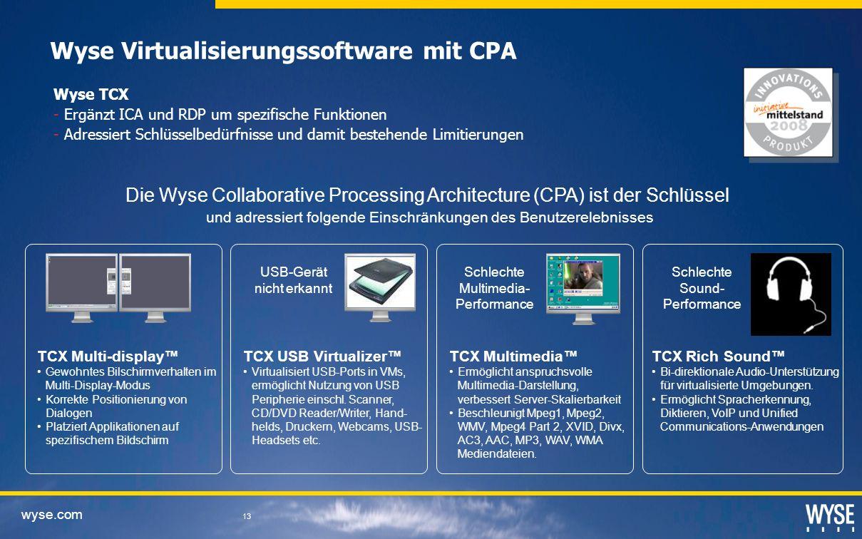 Wyse Virtualisierungssoftware mit CPA