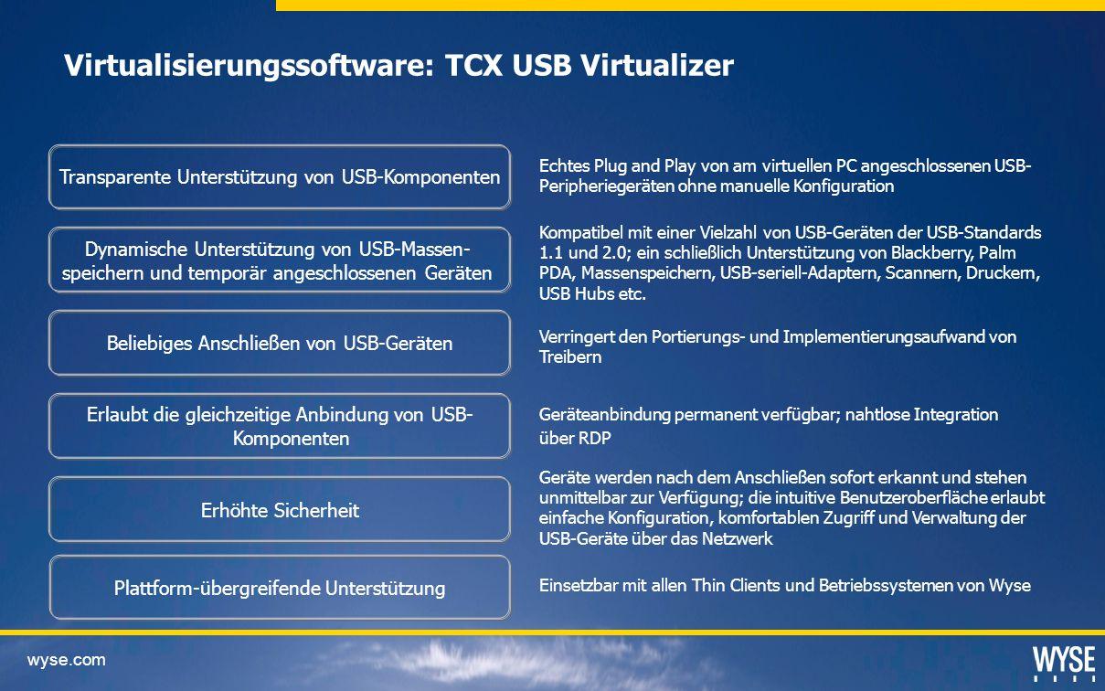 Virtualisierungssoftware: TCX USB Virtualizer