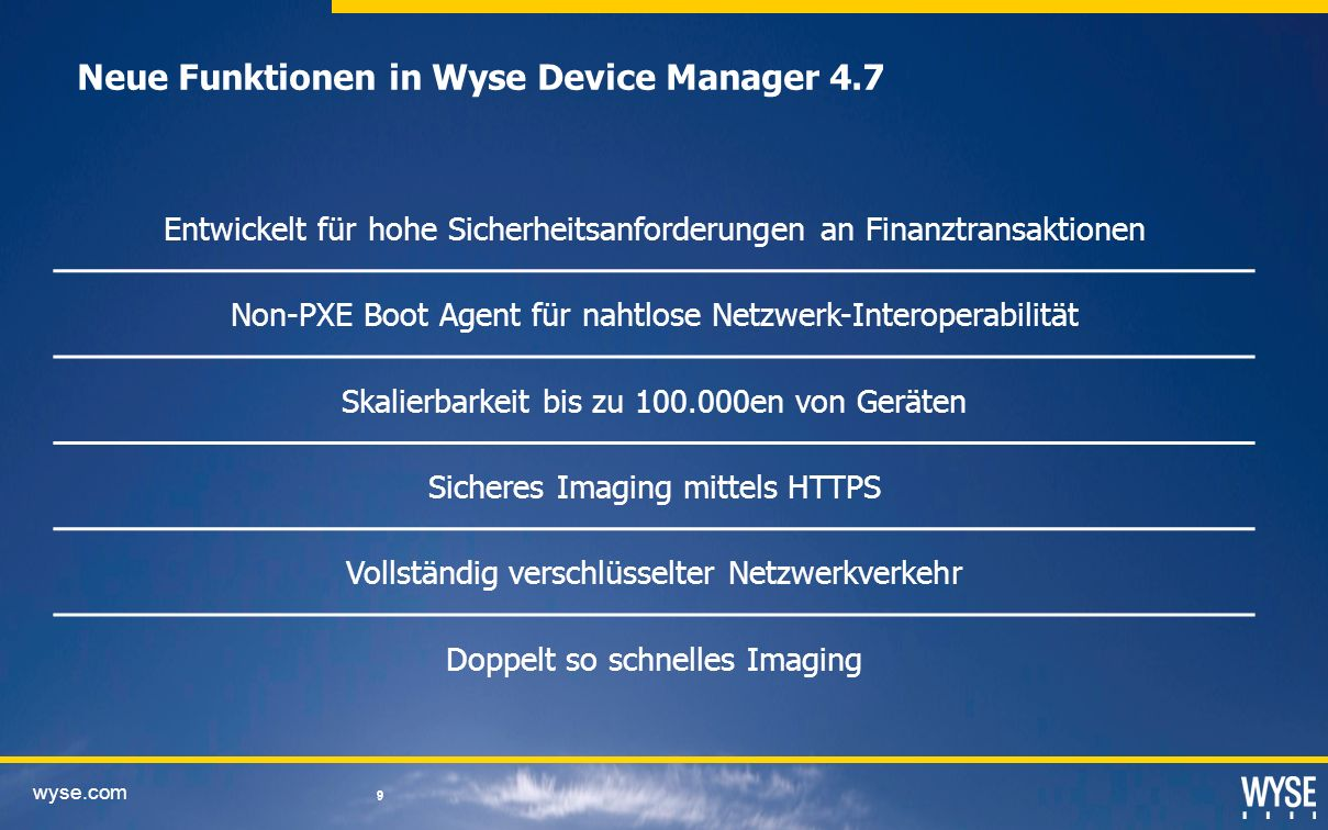 Neue Funktionen in Wyse Device Manager 4.7