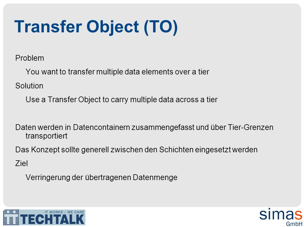 Transfer Object (TO)