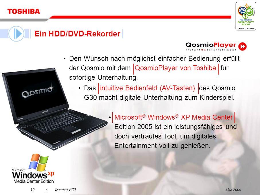 Ein HDD/DVD-RekorderDen Wunsch nach möglichst einfacher Bedienung erfüllt der Qosmio mit dem QosmioPlayer von Toshiba für sofortige Unterhaltung.