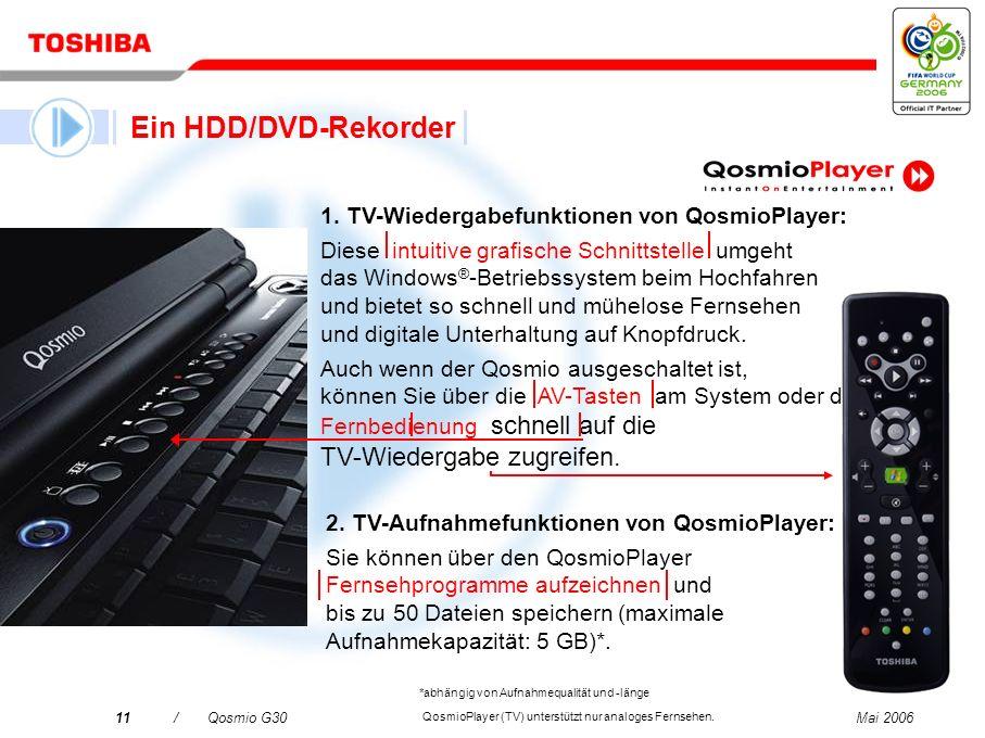 Ein HDD/DVD-Rekorder 1. TV-Wiedergabefunktionen von QosmioPlayer: