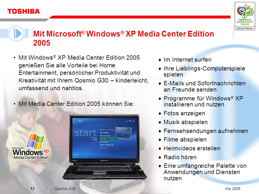 Mit Microsoft® Windows® XP Media Center Edition 2005