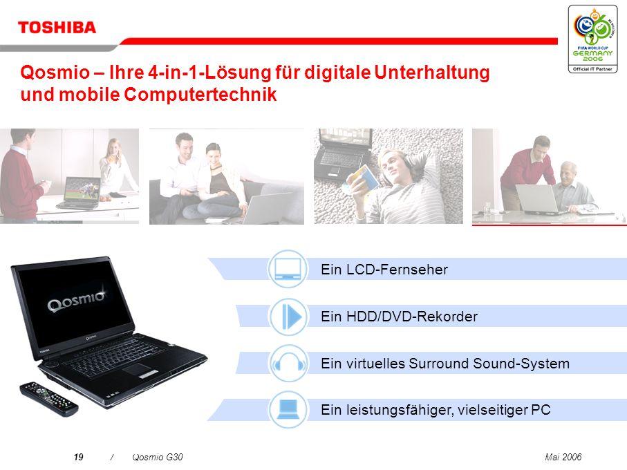 Qosmio – Ihre 4-in-1-Lösung für digitale Unterhaltung und mobile Computertechnik