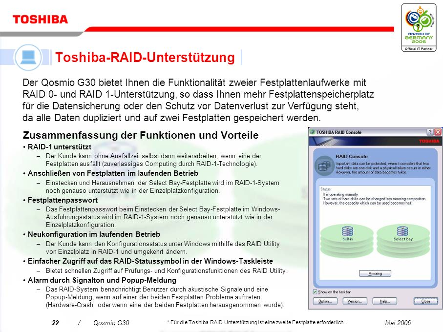 Toshiba-RAID-Unterstützung