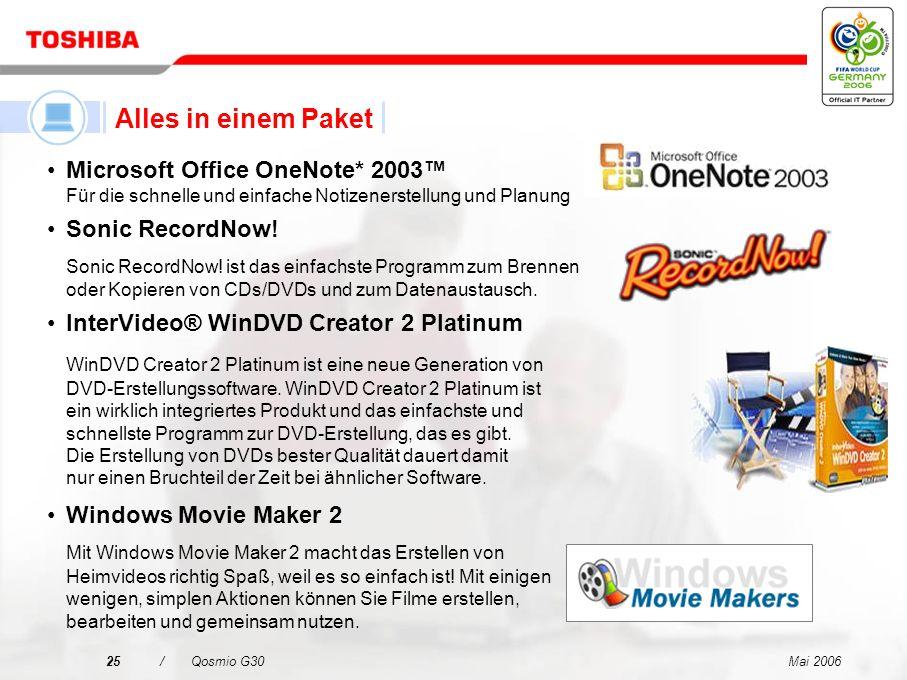 Alles in einem Paket Microsoft Office OneNote* 2003™ Für die schnelle und einfache Notizenerstellung und Planung.
