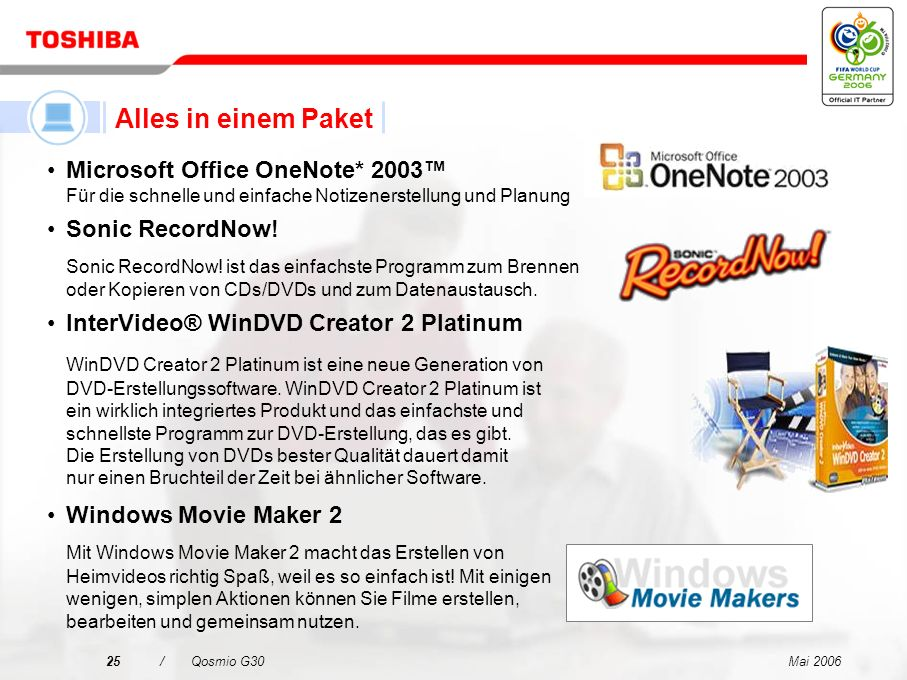 Alles in einem PaketMicrosoft Office OneNote* 2003™ Für die schnelle und einfache Notizenerstellung und Planung.