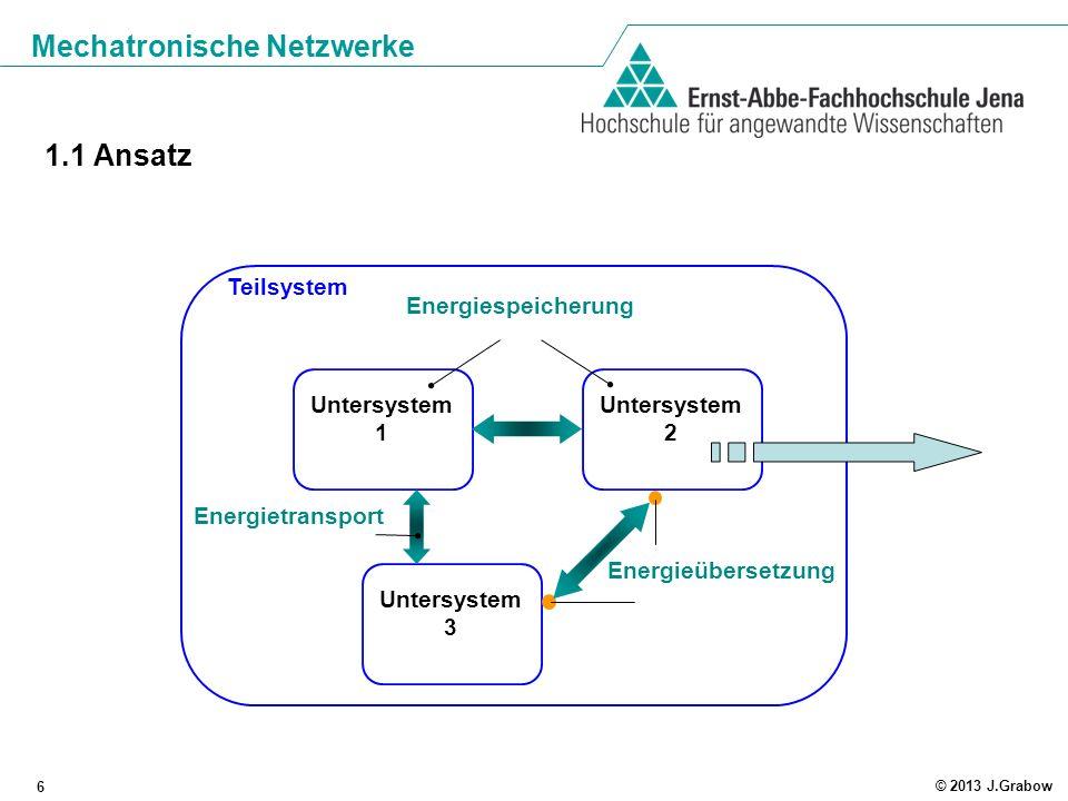 1.1 Ansatz Teilsystem Energiespeicherung Untersystem 1 Untersystem 2