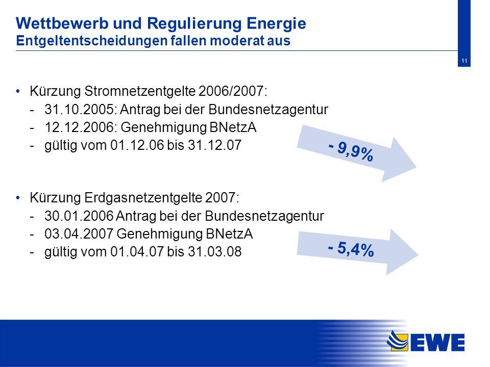 Wettbewerb und Regulierung Energie Entgeltentscheidungen fallen moderat aus