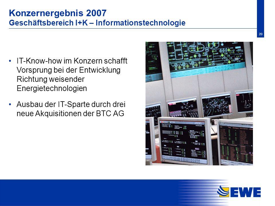Konzernergebnis 2007 Geschäftsbereich I+K – Informationstechnologie