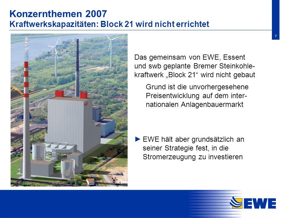 Konzernthemen 2007 Kraftwerkskapazitäten: Block 21 wird nicht errichtet