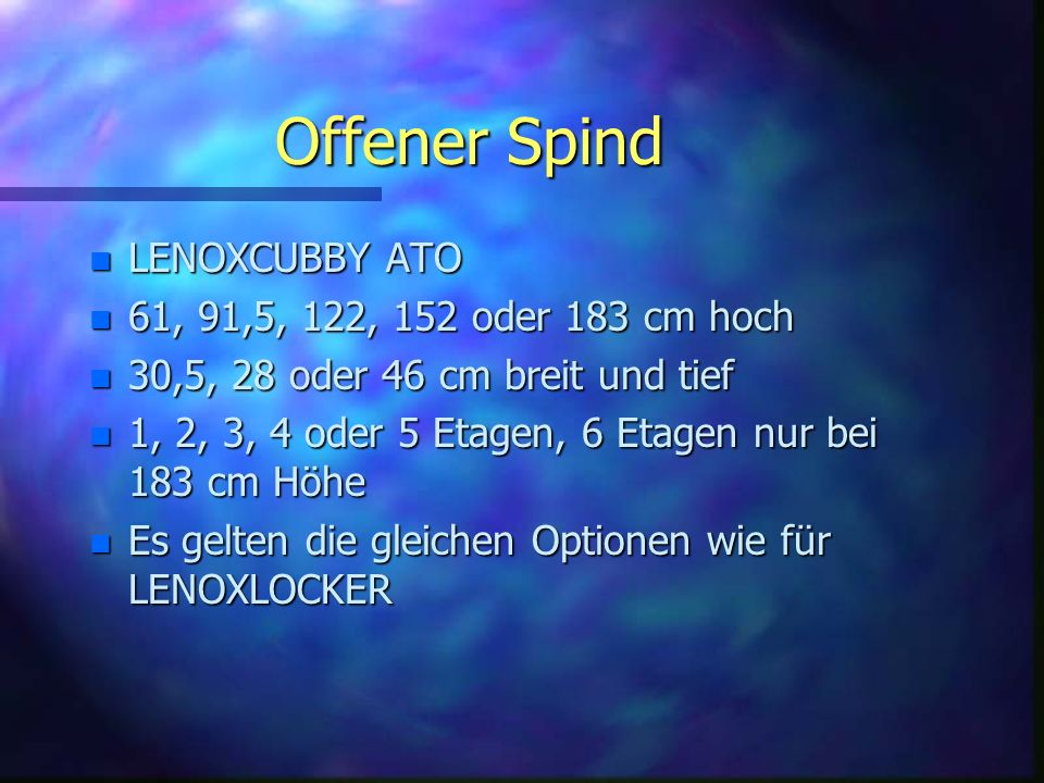Offener Spind LENOXCUBBY ATO 61, 91,5, 122, 152 oder 183 cm hoch
