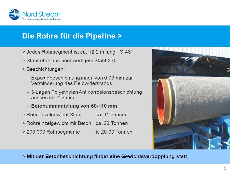 Die Rohre für die Pipeline >