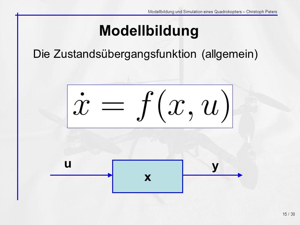 Modellbildung u y x Die Zustandsübergangsfunktion (allgemein)